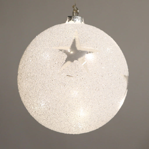 Large 15cm Light Up Bauble - Christmas Star