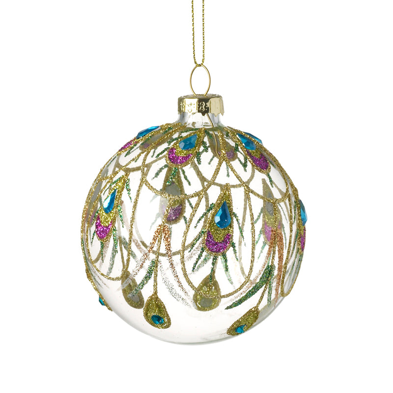 Clear Christmas Bauble Peacock Design.