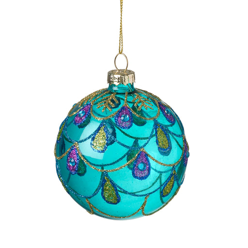 Blue Christmas Bauble Clear Peacock Design