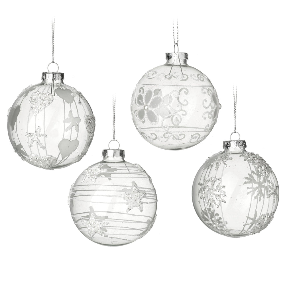Clear Glass Bauble Christmas Tree Decorations - Set of 4 - Disc