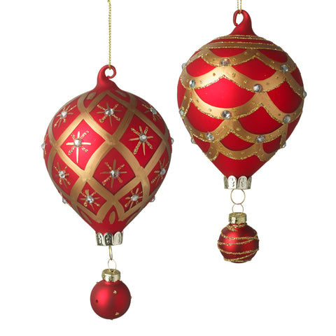 Balloon Christmas Tree Decorations Red Gold - Set of 2