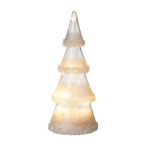 Light Up Glass Cone Christmas Tree Sparkle Trim - Small