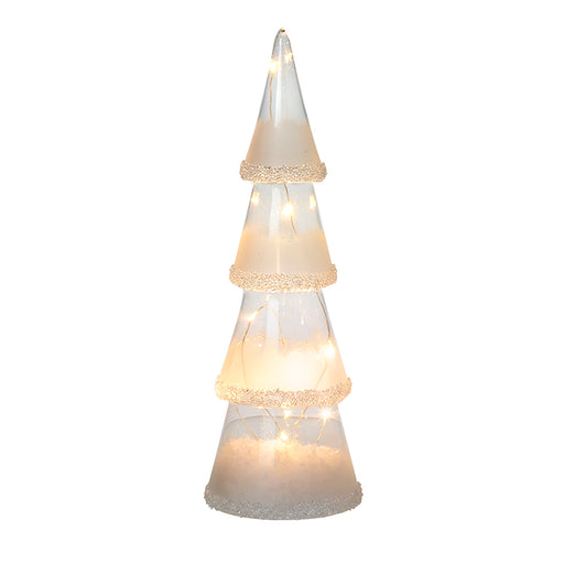 Light Up Glass Cone Christmas Tree Sparkle Trim - Large