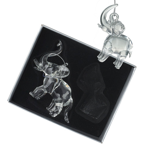 Glass Elephant Christmas Tree Decorations - New for X'mas 2020
