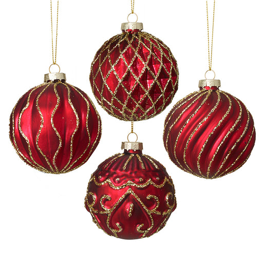 Red & Gold Glass Bauble Christmas Tree Decorations - Set of 4 - New for X'mas 2020
