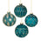 Blue & Gold Glass Bauble Christmas Tree Decorations - Set of 4 - New for X'mas 2020