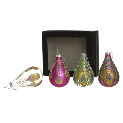 Peacock Teardrop Bauble Set of 4 - Pink Green Gold