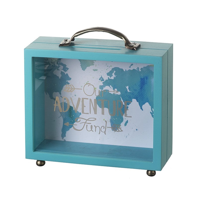 Teal Suitcase Shaped Money Box - Our Adventure Fund