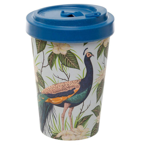Peacock Reusable Screw Top Bamboo Travel Mug