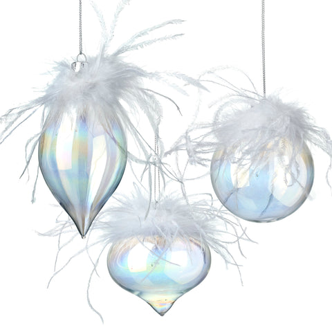 Glass Feather Christmas Baubles