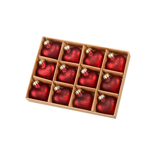 Heart Christmas Baubles - Red - Set of 12 - New for X'mas 2020
