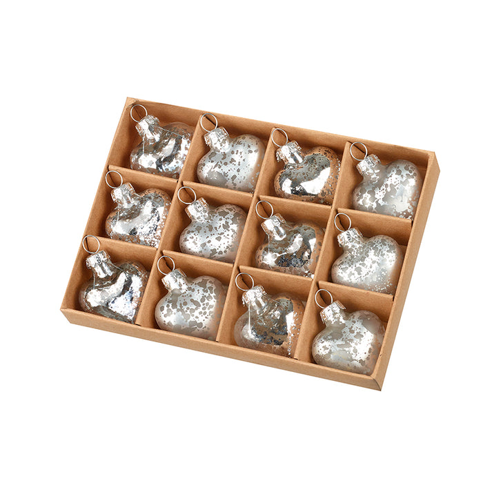 Heart Christmas Baubles - Mini Silver hearts Set of 12 Boxed