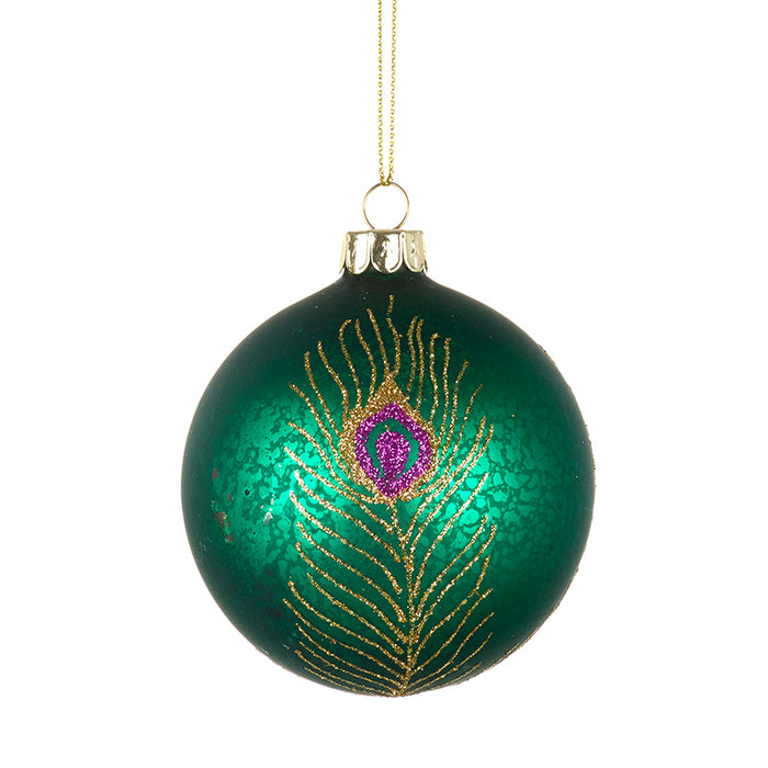 Turquoise Glass Christmas Bauble Peacock Design