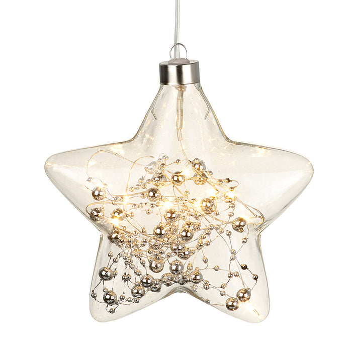 Glass Star Light Up LED Hanging Christmas Decoration
