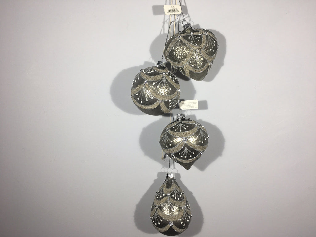 Ornate Christmas Bauble - Pewter with Diamante