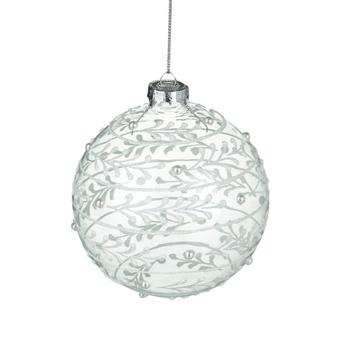 Glass Bauble with White Painted Leaves and Pearl Detail