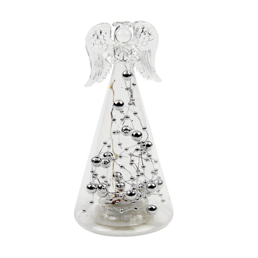 Light up Silver Bead Glass Angel Hanging Decoration