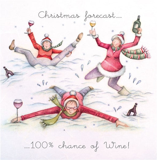 Christmas Card 100% Chance of Wine
