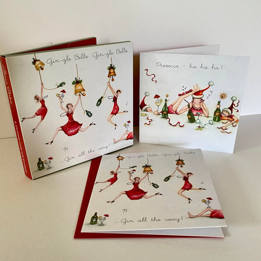 Berni Parker Christmas Card Pack - Gin / Prosecco - Pack of 8
