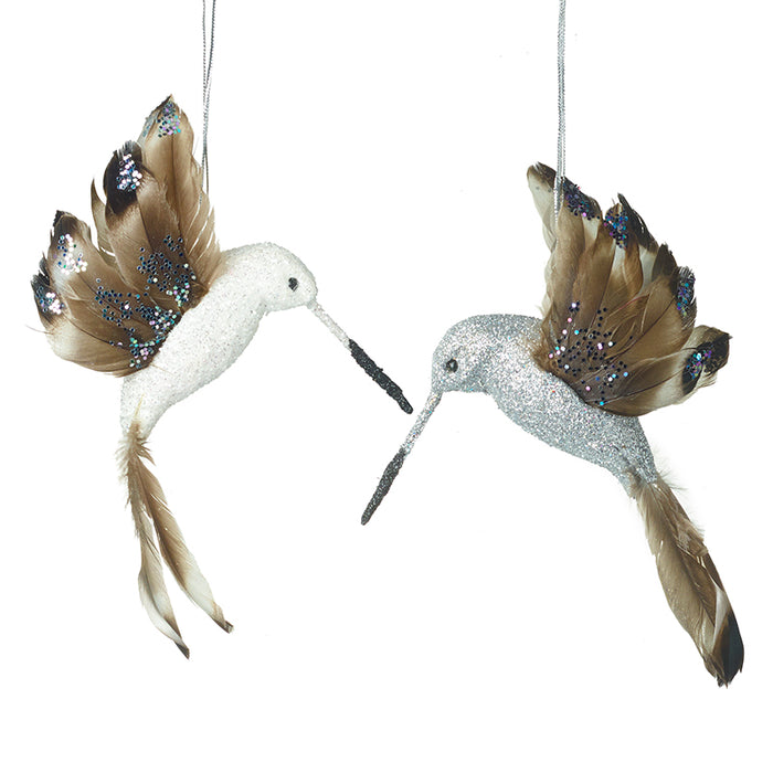 Pair of Feather Hummingbird Christmas Tree Decorations - 14cm