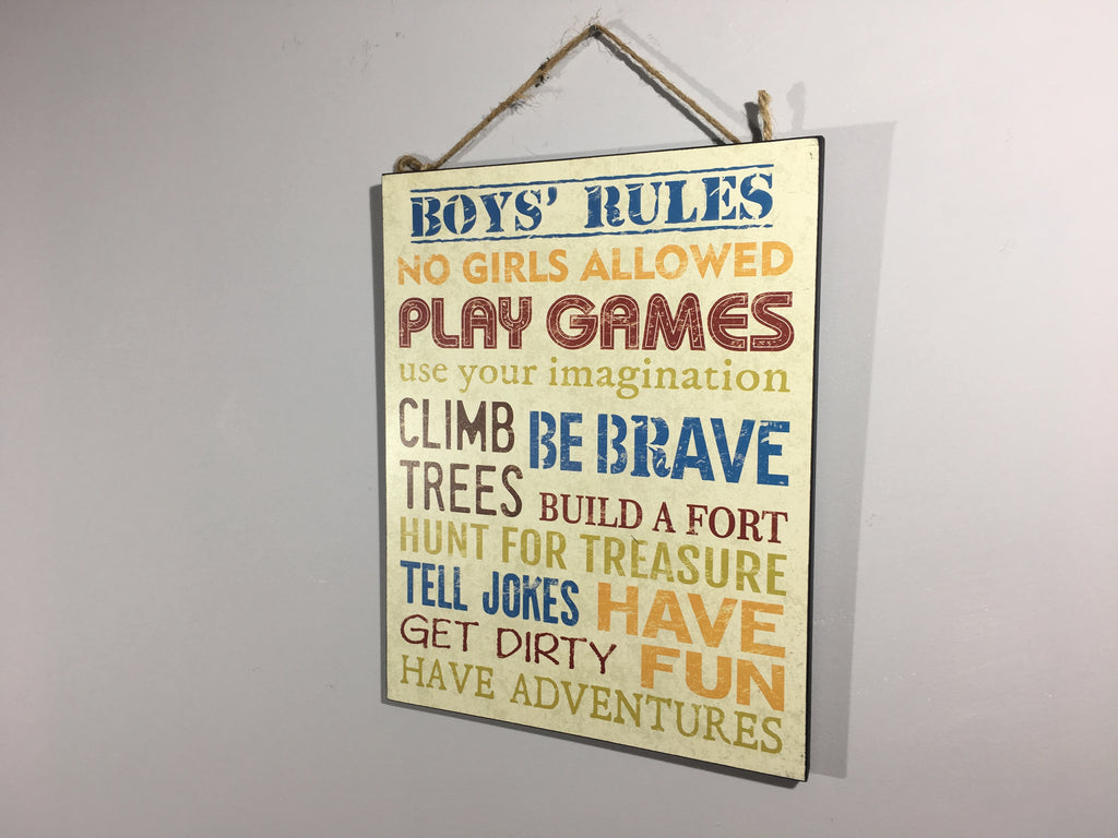Boys Rules Wall Plaque - Fun Kid Gift