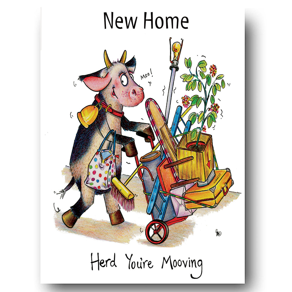 New Home Greeting Card - Herd You're Mooving