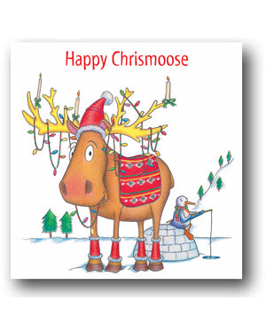 Funny Moose Christmas Card - Happy Christmoose