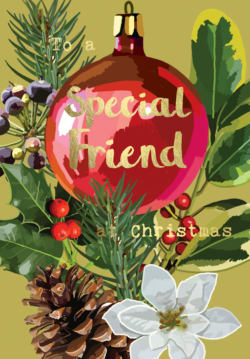 Christmas Card - Special Friend - Gold Foil Detail, Sarah Kelleher