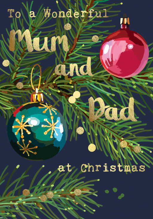 Christmas Card - To a Wonderful Mum and Dad at Christmas - Gold Foil Detail, Sarah Kelleher