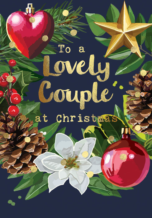 Christmas Card - To a Lovely Couple at Christmas - Gold Foil Detail, Sarah Kelleher