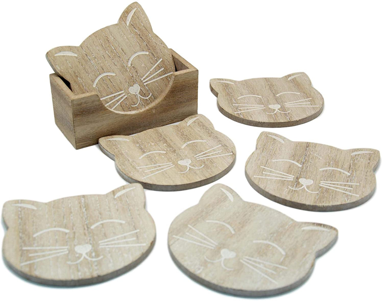 Cat Coasters - Set Of Six Carved Wooden Coasters