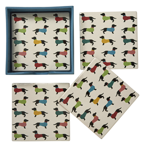 Dachshund Coasters - Set Of Four Ceramic Coasters in box