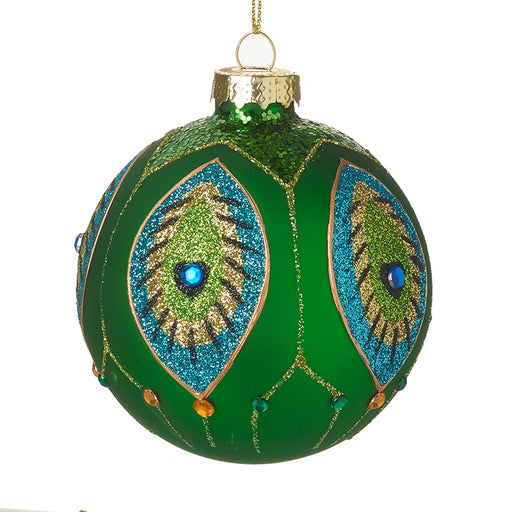 Green Glass Christmas Bauble Peacock Design