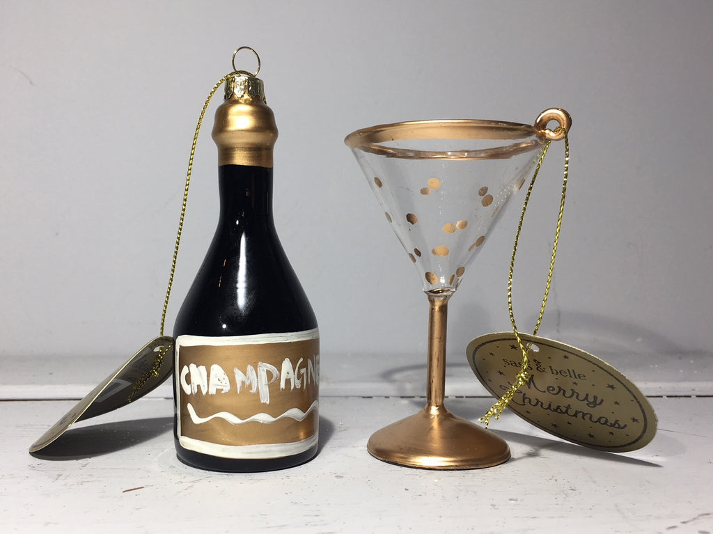 Champagne Bottle and Glass Christmas Decorations