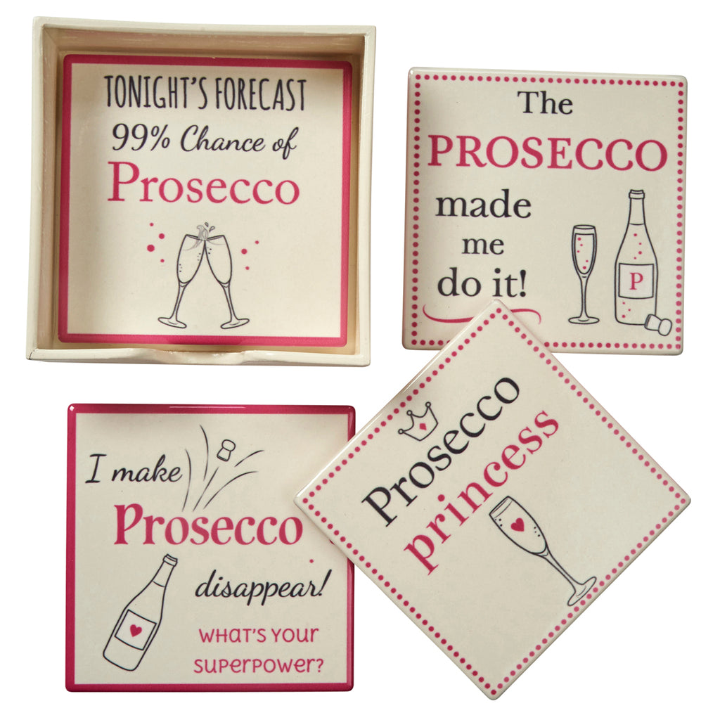 Prosecco Coasters - Set of 4 Pink and White Drink Mats
