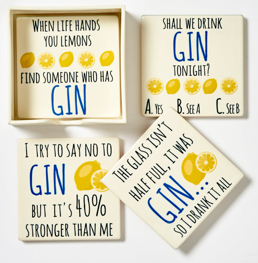 Gin Coasters - Set Of Four Ceramic Coasters in box