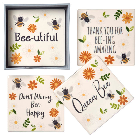 Bee Coasters - Set Of Four Ceramic Coasters in box