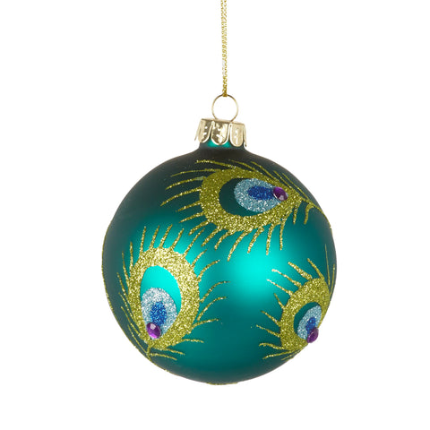 Peacock Design Christmas Bauble