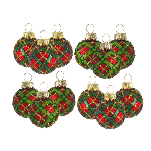 Mini Christmas Baubles - Tartan - Set of 12