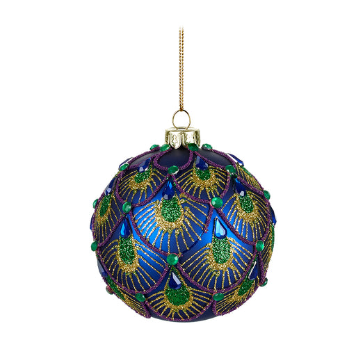 Dark Blue Christmas Bauble Emperor Peacock Design