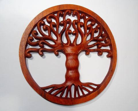 Tree of Life Carved Wooden Plaque - Fair Trade Wall Hanging