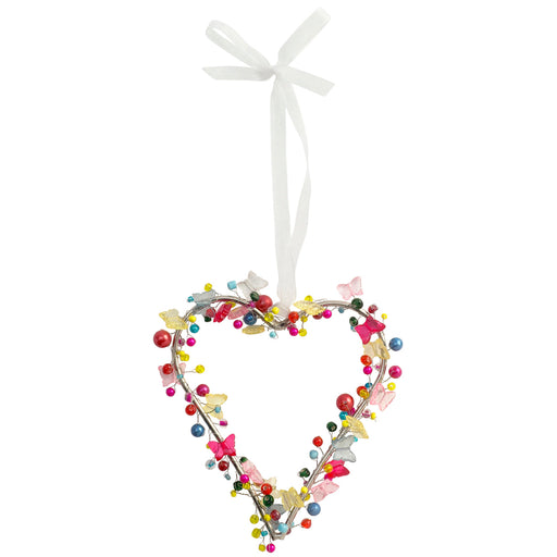 Bright Beaded Heart With Butterflies