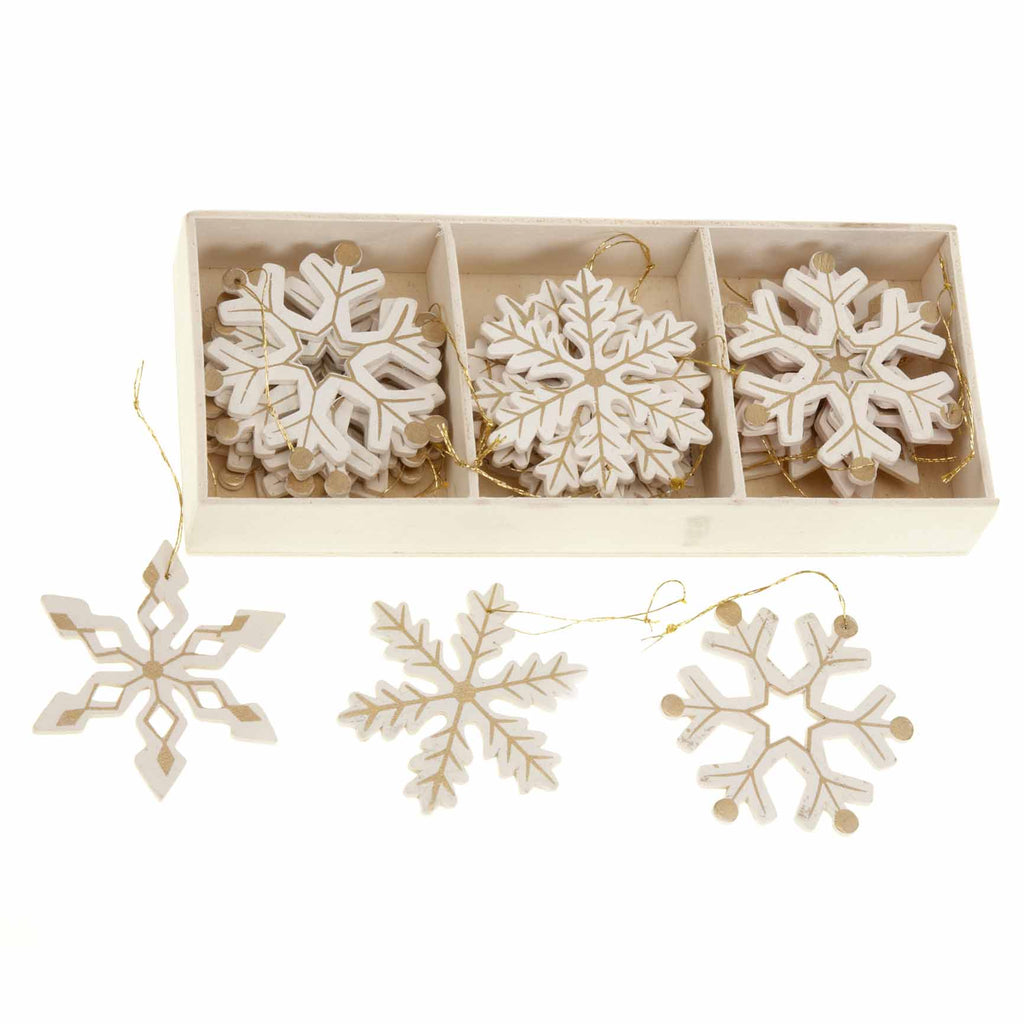 Snowflake Christmas Decorations - Set of 24 White and Gold