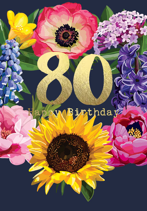 Happy Birthday 80 - Gold Foil Detail, Sarah Kelleher