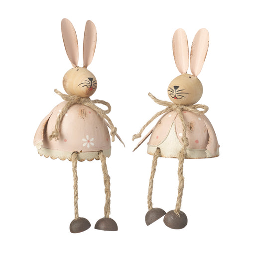 Pair of Shelf Sitting Metal Rabbits / Bunny's