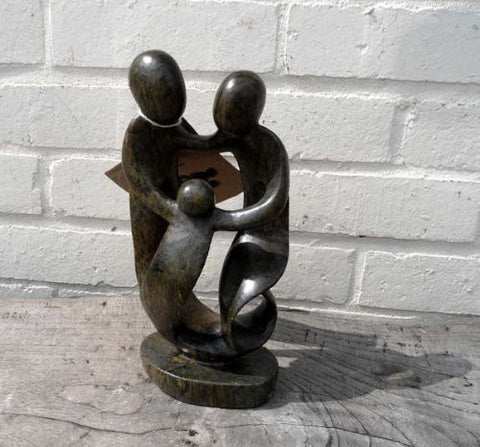 Family of Three - Abstract Natural Soapstone - 25cm