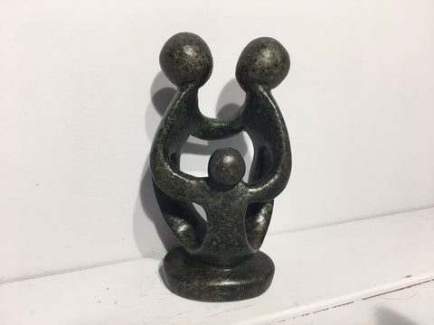 Family of Three Small - Abstract Natural Soapstone - 14cm