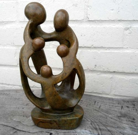 Family of Five - Abstract Natural Soapstone - 25cm