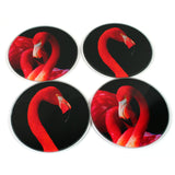 Flamingo Coasters - Glass Set of 4
