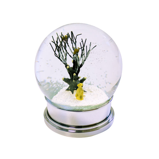Christmas Snow Globe with Gold Dog Winter Scene